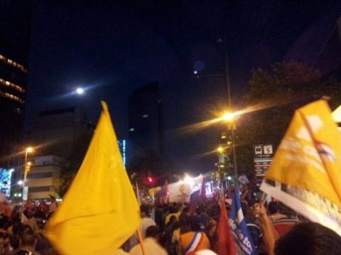 Feest in de straten van Santiago, Chili, voor de presidentsoverwinning van Michelle Bachelet zondag 15 de december - Foto: Daniela Cancino Jara
